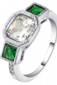 Nowy pierścionek srebrny kolor białe oczko zielone cyrkonie retro