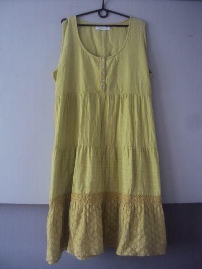 Suknie i sukienki limonkowa bawełnian sukienka