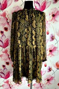 h&m sukienka luźny fason modny wzór węża skóra hit blog 34...