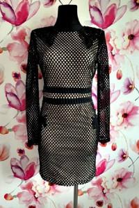 missguided sukienka ołówkowa siateczka gipiura mini hit 38