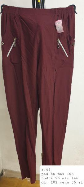Spodnie spodnie w kolorze bordo rozmiar 42