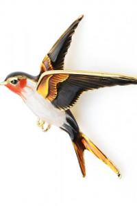 Nowa broszka ptak ptaszek jaskółka kolor złoty czarny brązowy b...