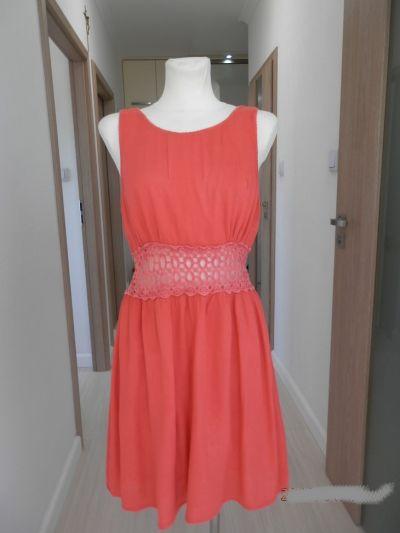 Suknie i sukienki Sukienka Rozkloszowana Bawełniana Koralowa Ażurowy Haft XL