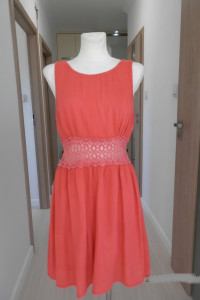 Sukienka Rozkloszowana Bawełniana Koralowa Ażurowy Haft XL...