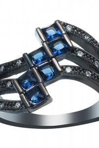 Nowy pierścionek duży czarny kolor niebieskie cyrkonie retro dark
