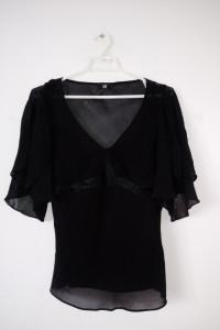 Czarna bluzka bliźniak mgiełka goth krótki rękaw