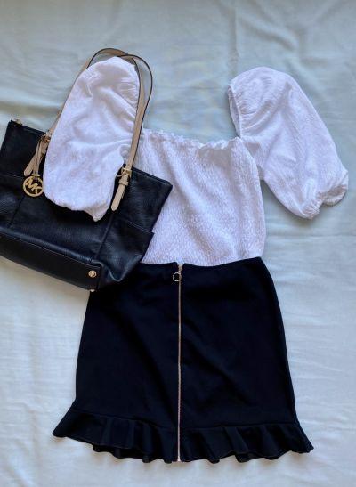 Codzienne Biała bluzka z bufkami