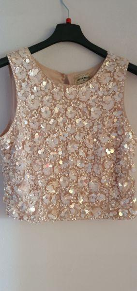 Top Crop top lace&beads cekiny