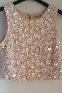 Crop top lace&beads cekiny...