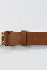 Pasek Damski Biały Brązowy 110 cm Gumowa Złote Elementy