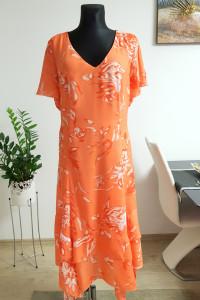 Pomaranczowa sukienka w kwiaty Bonprix...