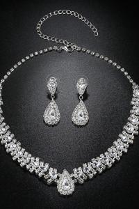 Nowy komplet biżuterii naszyjnik kolia kolczyki srebrny kolor b...