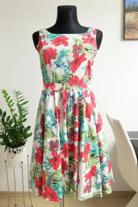 biała sukienka w kwiaty Ellos...