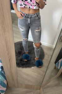 Jeansy rurki spodnie grey dziury S...