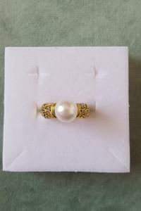 Nowy pierścionek złoty kolor biała sztuczna perła królewski ret...