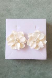 Now kolczyki duże białe kwiaty kwiatki biel boho hippie glam...
