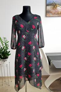 asymetryczna czarna sukienka w kwiaty C&A