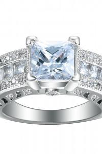 Nowy duży pierścionek srebrny kolor białe cyrkonie retro królew...