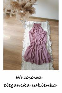 Wrzosowa elegancka sukienka z falbanami M L dekolt halter wesel...