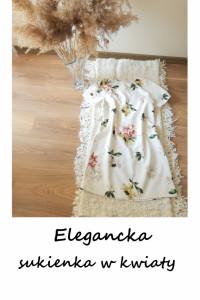 Biała trapezowa sukienka w kwiaty XS S elegancka na wesele impr...
