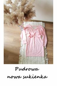 Nowa sukienka S M L pudrowy róż z paskiem długi rękaw...