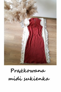 Prążkowana dopasowana midi sukienka L XL bordowa burgundowa...