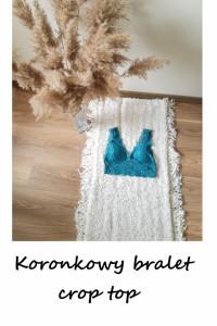 Morski koronkowy crop top bralet S M koronka...