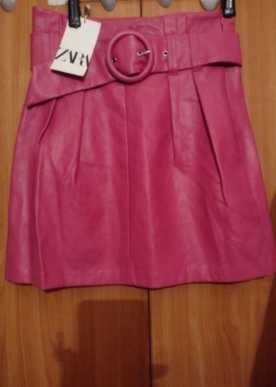 Spódnice 36S ZARA Skórzana spódnica z paskiem z Madrytu NOWA