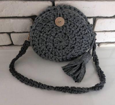 Torebki na co dzień Handmade szara torebka szydełkowa bawełna okrągła chwost NOWA