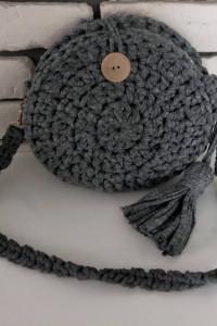 Handmade szara torebka szydełkowa bawełna okrągła chwost NOWA...