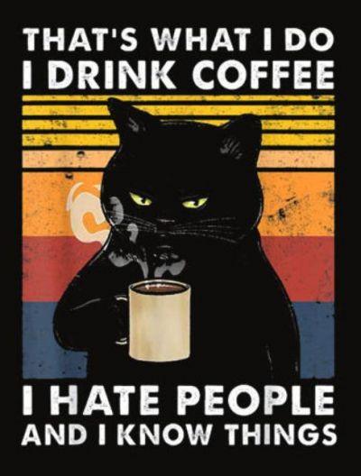 Pozostałe Drink coffee hate people know things kot szyld plakat tabliczka 20 x 30 cm NOWA