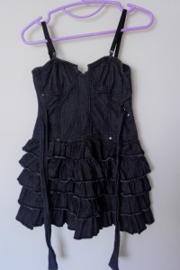 Jeansowa gorsetowa sukienka z falbankami 34 River Island...