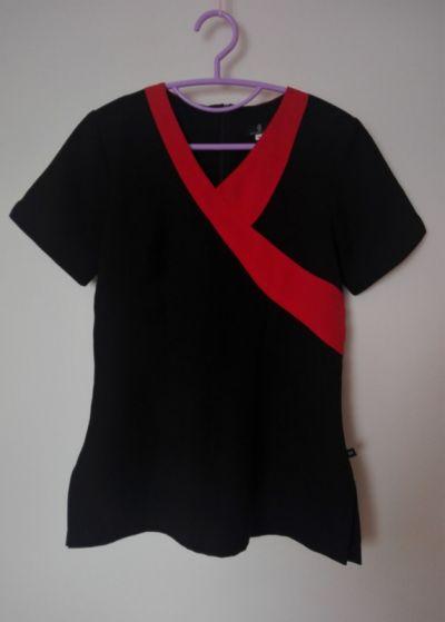 Bluzki Tunika kosmetyczna czarna z czerwona wstawką 36 38
