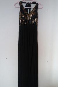 BooHoo Czarna maxi suknia z cekinami 36...