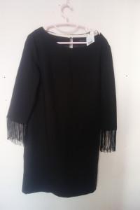 Top Secret Czarna elegancka sukienka z frędzlami 42...