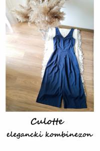 Granatowy elegancki kombinezon culotte XS S szerokie nogawki...