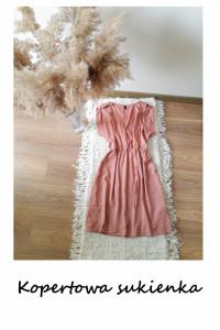 Kopertowa sukienka M L letnia pudrowa...