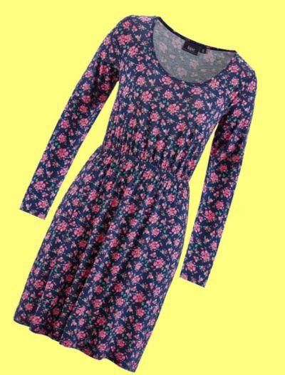 Suknie i sukienki Granatowa sukienka w drobne kwiaty róże 40 lub 42