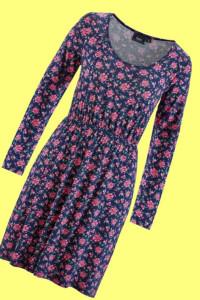 Granatowa sukienka w drobne kwiaty róże 40 lub 42...