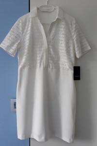 Reserved kremowa bawełniana elegancka sukienka z koronką r 40 n...