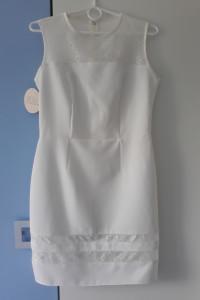 ROU elegancka kremowa sukienka z koronką r 36 38 nowa...
