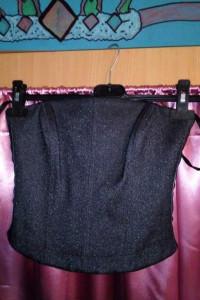 Błyszczący elegancki czarny gorset na zamek błyskawiczny TOPSHOP