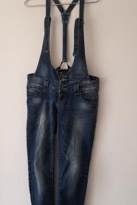 Niebieskie jeansowe ogrodniczki rurki skinny 40 42
