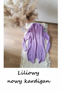 Nowy liliowy fioletowy sweter kardigan uniwersalny one size...