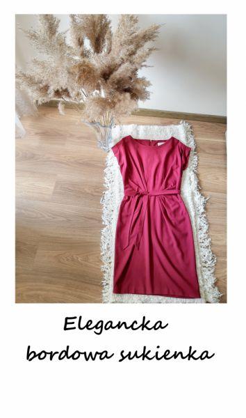 Suknie i sukienki Elegancka burgundowa sukienka z paskiem z wiązaniem M bordowa do pracy do biura