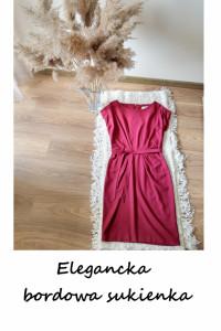 Elegancka burgundowa sukienka z paskiem z wiązaniem M bordowa d...