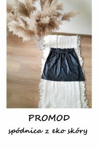 Skórzana spódnica Promod eko skóra L czarna z wiązaniem rozklos...