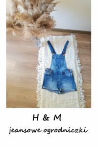 Jeansowe spodenki ogrodniczki vintage szorty XS S M