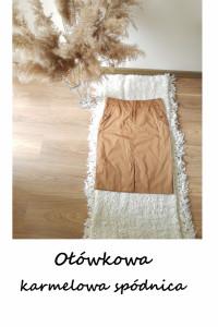 Karmelowa elegancka spódnica M L bawełniana ołówkowa z rozporki...