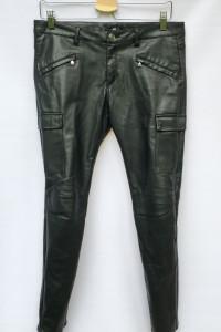 Spodnie Tregginsy Skórzane Skóra H&M L 40 Czarne Militarne...